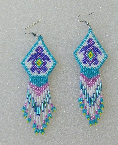 Seahawks beaded EARRINGS | Native American Inspired Beaded Turtle Dangle Earrings
