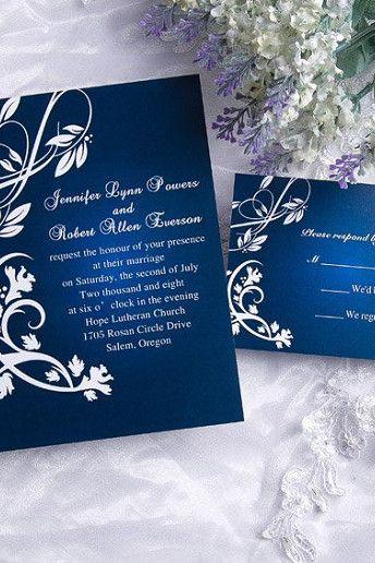 15 Ideas For A Blue Themed Wedding Damask Wedding Invitation Silver Wedding Invitations Royal Blue Wedding Invitations
