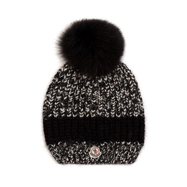 fe0395f151e Moncler Fur-pompom ribbed-knit hat ( 330) ❤ liked on Polyvore featuring  accessories