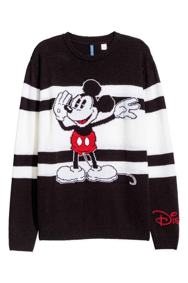 fe79934a22c9f H M H   M - Jacquard-knit Sweater - Black Mickey Mouse - Men ...