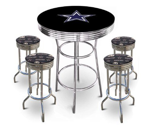 df9f40a32 Amazon.com  5 Piece Dallas Cowboys Logo Chrome Finish Black Pub Table w  4  Bar Stools  Home   Kitchen