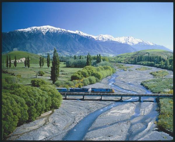NEW ZEALAND Tranz-Alpine Christchurch to Greymouth South Island, rated in the top ten train trips in the world