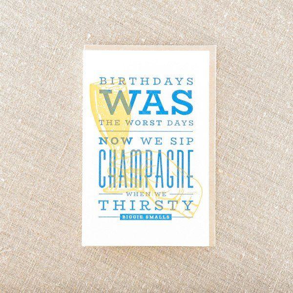Sip Champagne On Birthday Letterpress Birthday Cards Pinterest