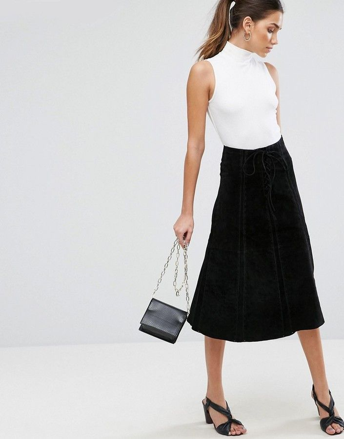 c41794e3000 Asos Suede Midi Skirt With Heavy Stitching And Tie Front