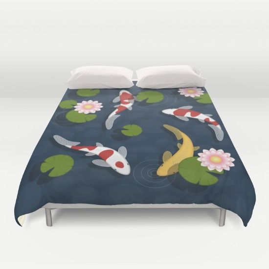 Japanese Koi Fish Pond Duvet Cover Koi Fish Pond Duvet