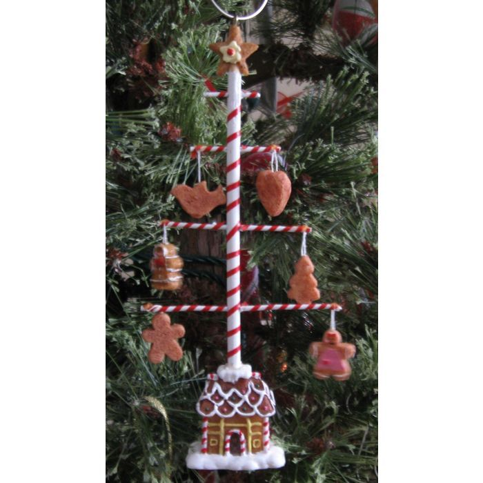 Gingerbread House With Peppermint Mini Cookie Tree On Top Christmas