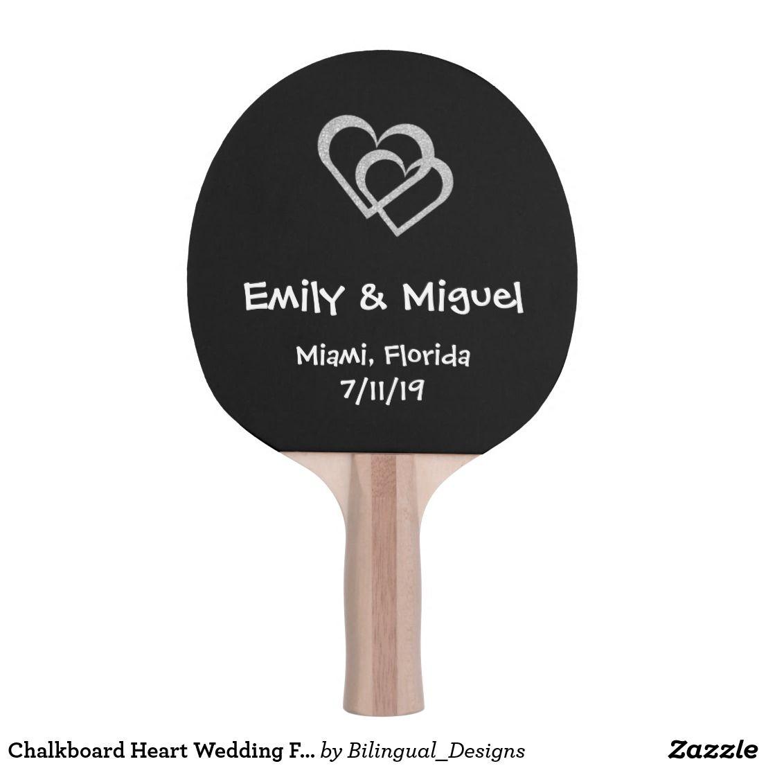 Chalkboard Heart Wedding Favor Table Tennis Bat Ping Pong Paddle ...