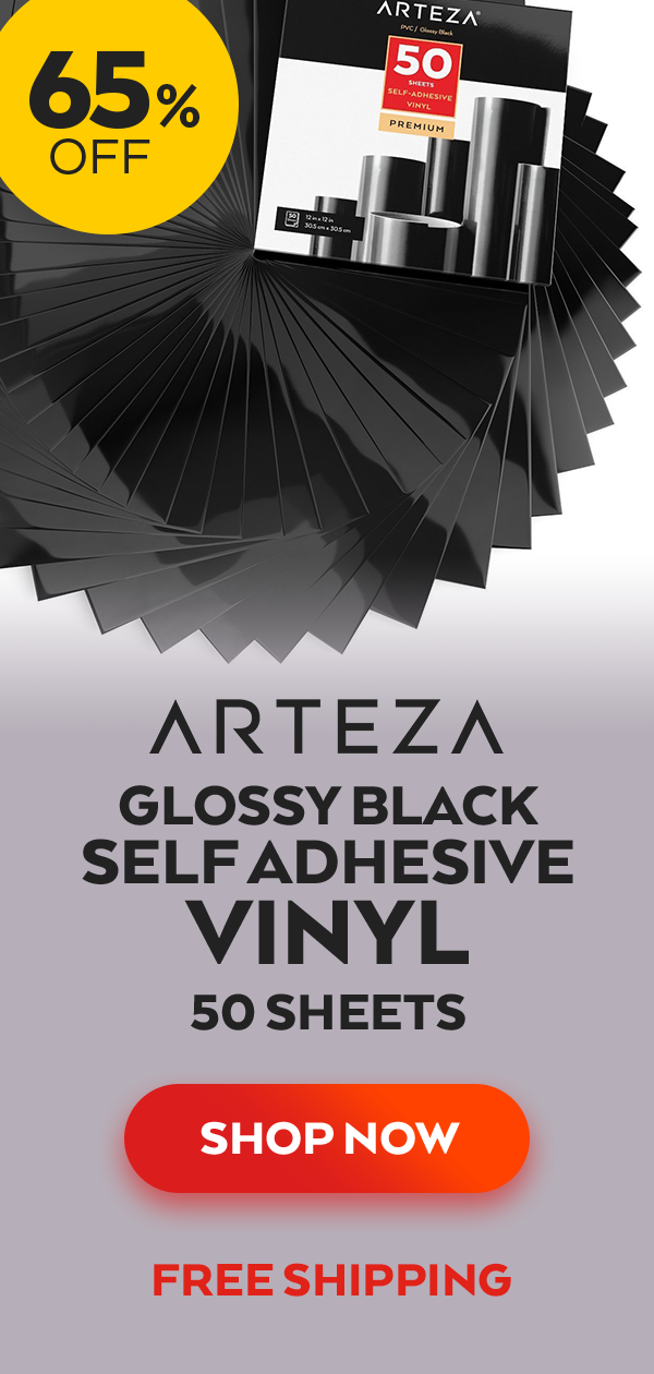 "Art Supplies Other Art Supplies 50 Sheets Arteza 12x12"" Glossy Black Self Adhesive Vinyl"