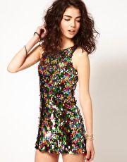 ASOS Petite | ASOS PETITE Exclusive Sequin Body-Conscious Dress With Cut Out Back at ASOS