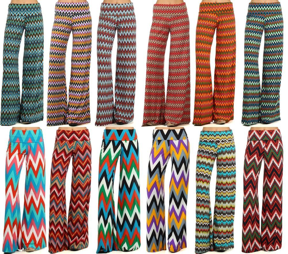 N21 WOMAN'S Sexy Trendy High Waist Wide Leg CHEVRON ZIGZAG PALAZZO PANTS 1339A  #MG #DressPants