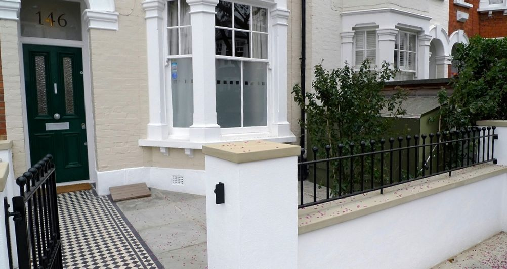 classic 50 balck and white mosaic tile path new garden wall with york stone caps metal wrought iron rail and gate balham london - Front Garden Ideas London