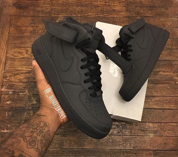 Matte Black Air Force One | Nike shoes, Sneakers fashion