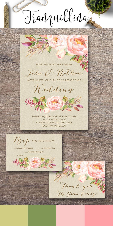 Floral Wedding Invitation, Blush Wedding Invitation Boho Printable ...