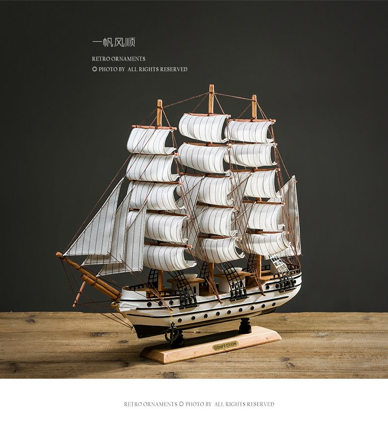 Lifelike Miniature Wooden Pirate Sailing Ship Model Marine Home Decoration Accessories Modern Arts Office Decorative Accessories Sailing Ship Model Model Ships