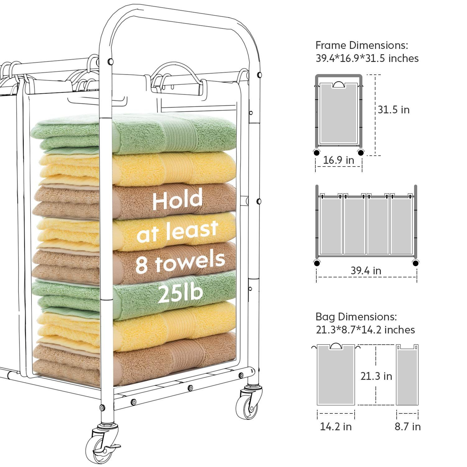 Wehome 4 Bag Laundry Sorter Cart Laundry Hamper Sorter With Heavy
