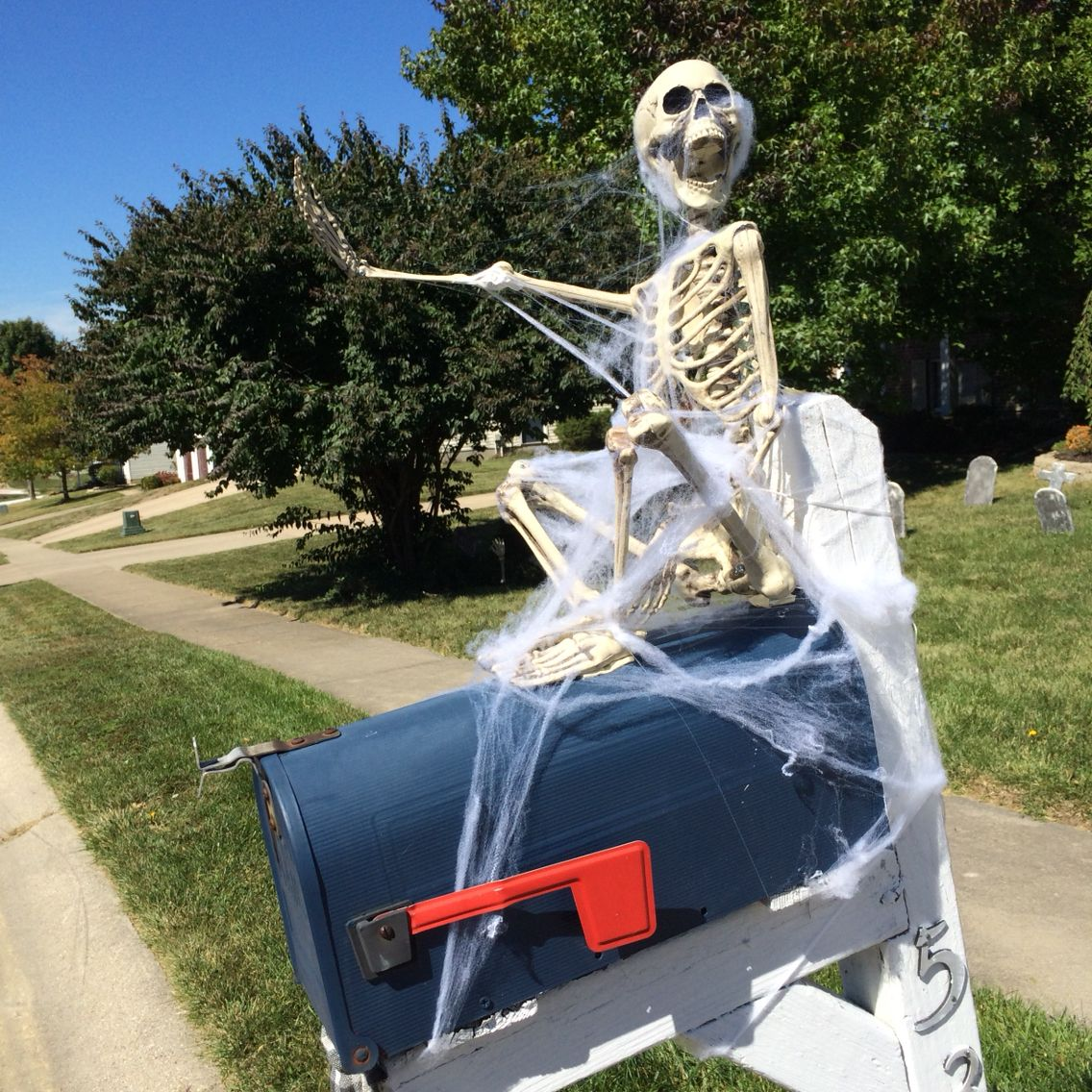 Skeleton mailbox halloween decoration Halloween outdoor