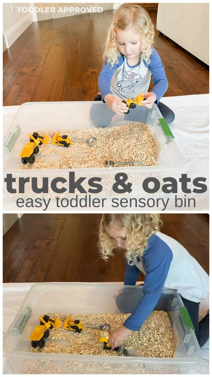 Photo of Trucks & Oats: Easy Toddler Sensory Bin