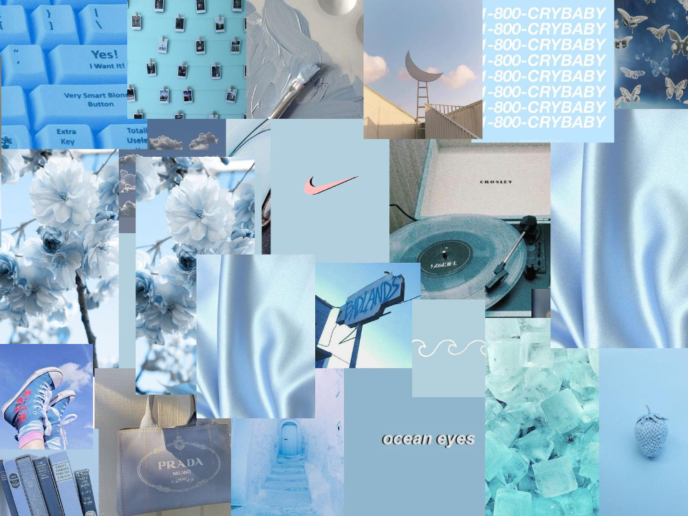 50 Pics Baby Blue Boujee Wall Collage Kit Digital Download Cute Bedroom Dorm Blue Collage Kit In 2021 Wall Collage Light Blue Aesthetic Color Collage