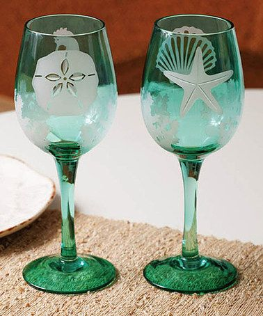 Take a look at this Sounds of the Sea Etched Wine Glass Set by Island Colors: Kitchen Accessories on @zulily today!