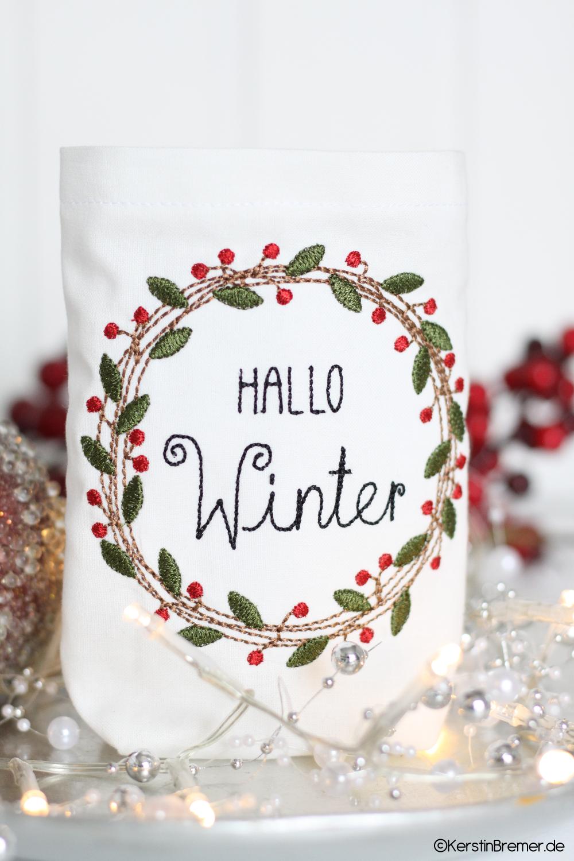 Photo of Mistletoe wreath doodle embroidery files set