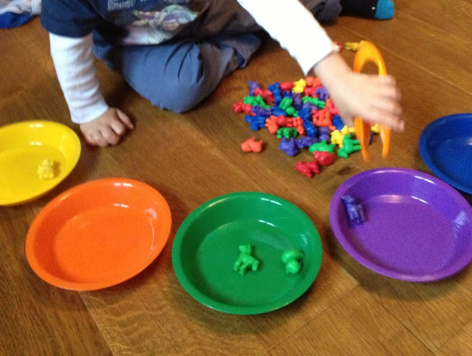 Sorting Colours With Tweezers To Help Fine Motor Skills