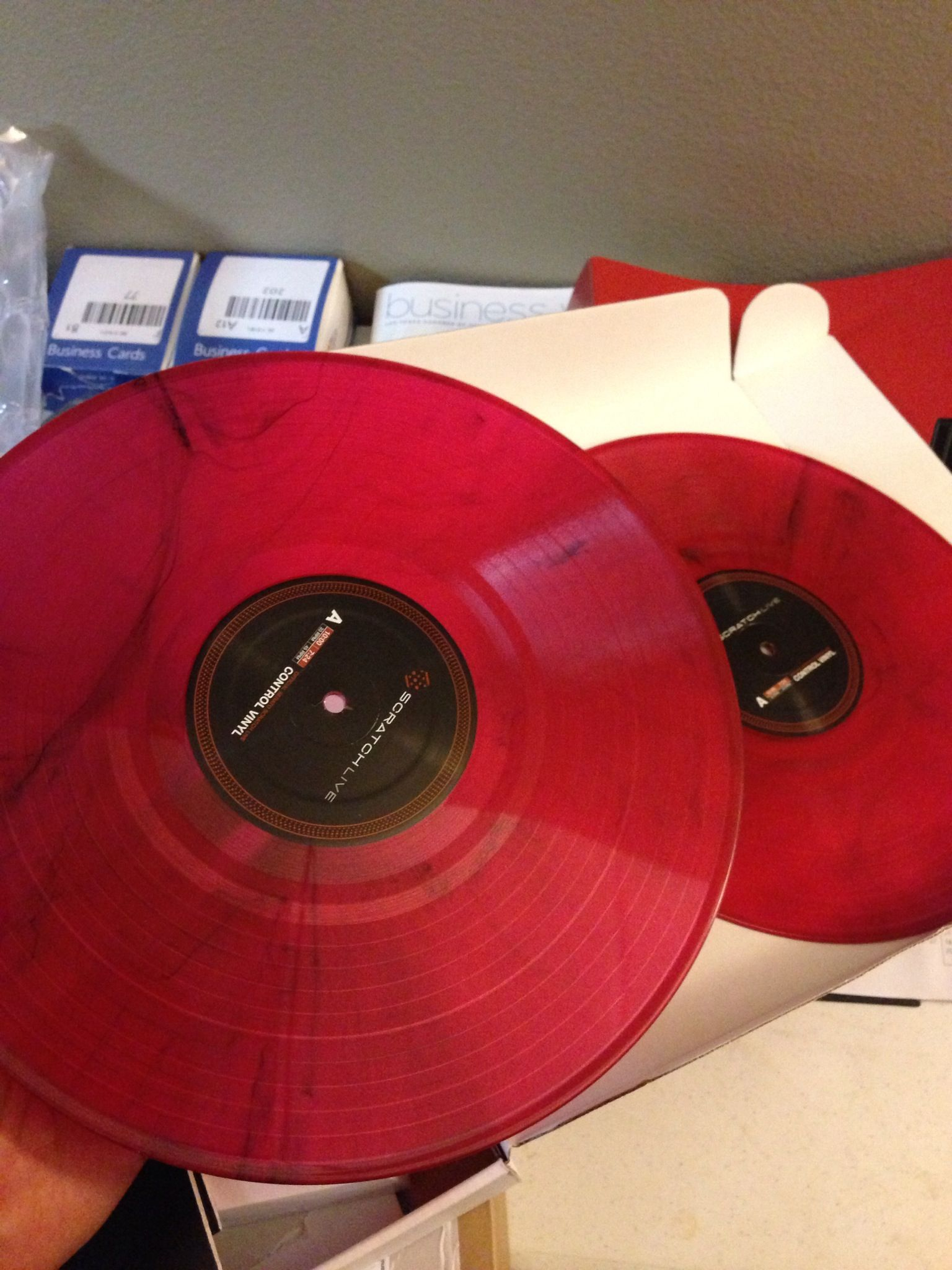 Limited Edition Red Marble Serato Control Vinyl With Red Sl3 Underneath Dj Equipment Vinyl Music Record