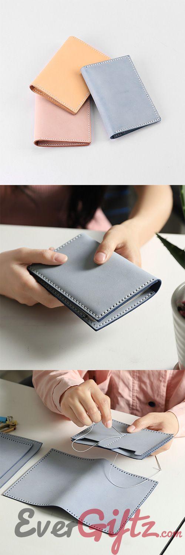 Handmade leather Cute Blue Women Passport Personalized Monogrammed Gift Custom Long Wallet Travel Purse Wallet For Girl Women #walletsforwomen