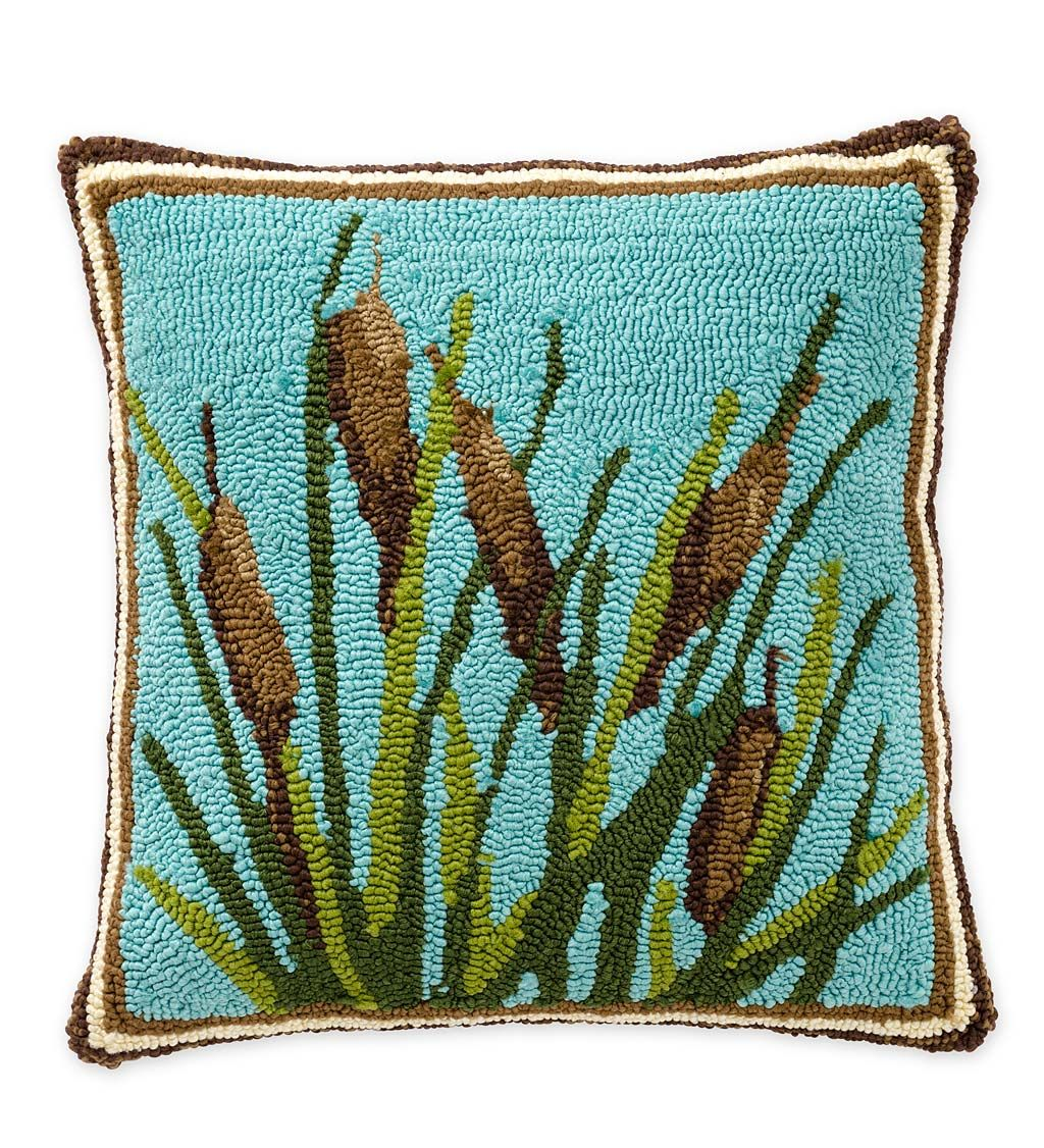 Indoor Outdoor Hooked Cattail Throw Pillow Outdoor Throw Pillows Throw Pillows Outdoor Throw Pillows Plush Throw Pillows