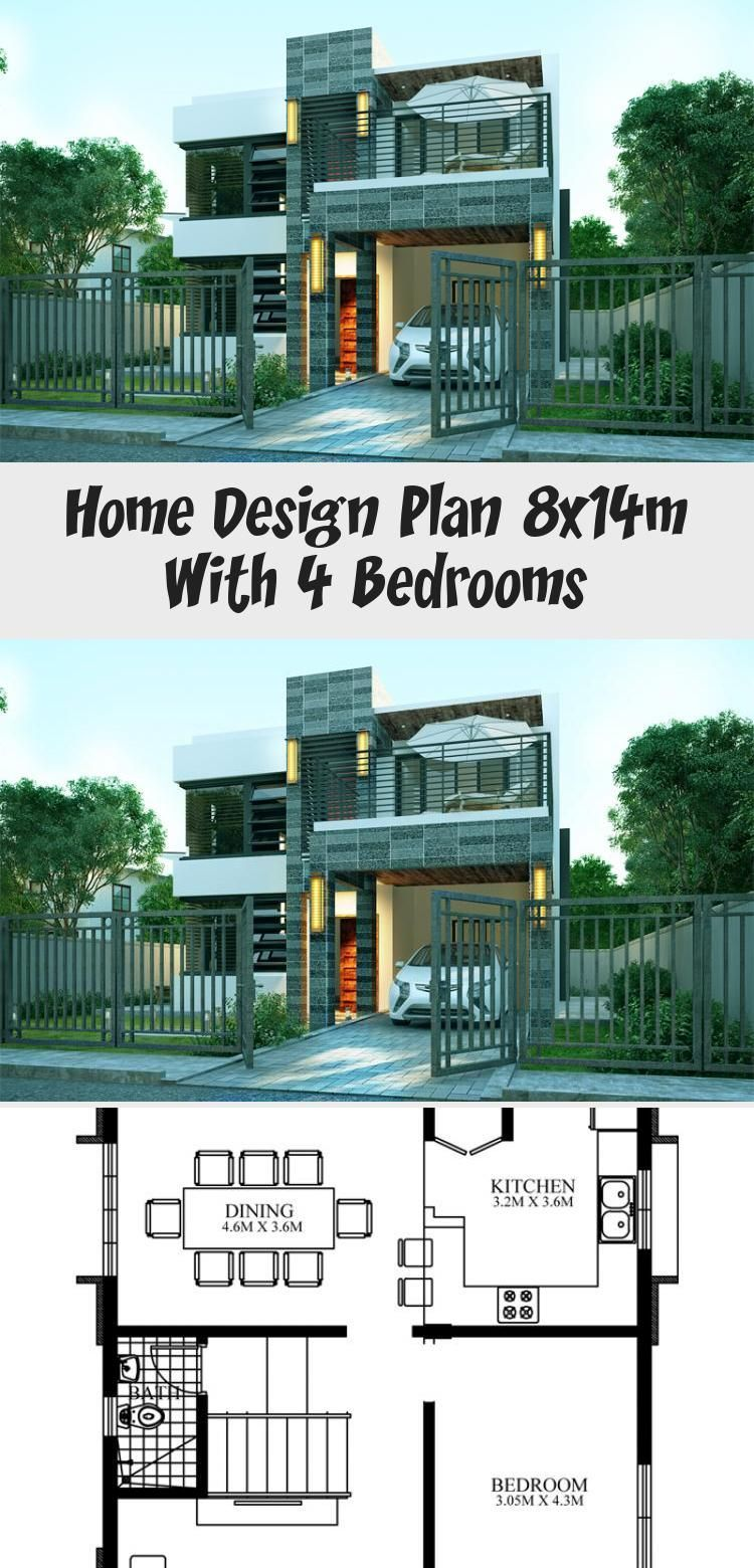Home Design Plan 8x14m With 4 Bedrooms Ruby S Blog Home Design Plan 8x14m With 4 Bed In 2020 Home Design Plan House Architecture Design Modern Architecture Design