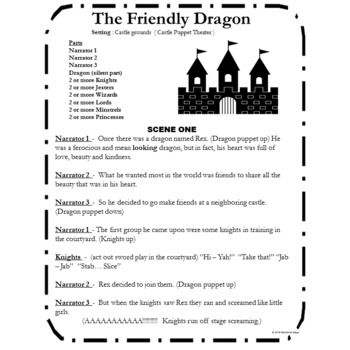 Medieval themed script for readers theater, short play or puppet