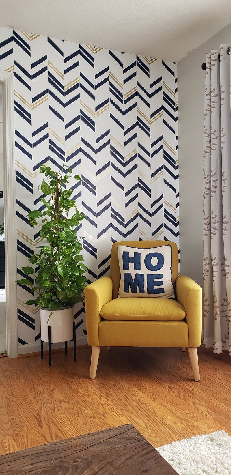 Vivienne Leaf Wallpaper Navy Gold Leaf Wallpaper Feature Wallpaper Love Wallpaper