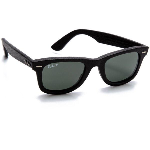 Ray-Ban Polar Leather Wayfarer Sunglasses - Black Polar Neophan Green  ( 300). Haute CoutureDes Lunettes De Soleil ... fd9dddb44b76