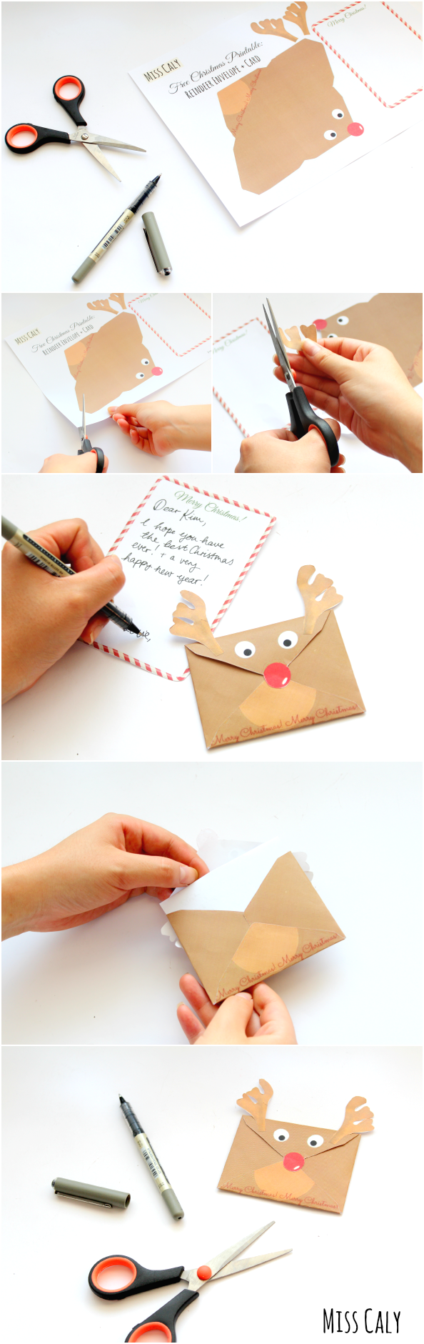 Christmas Printables Reindeer Envelope and Card