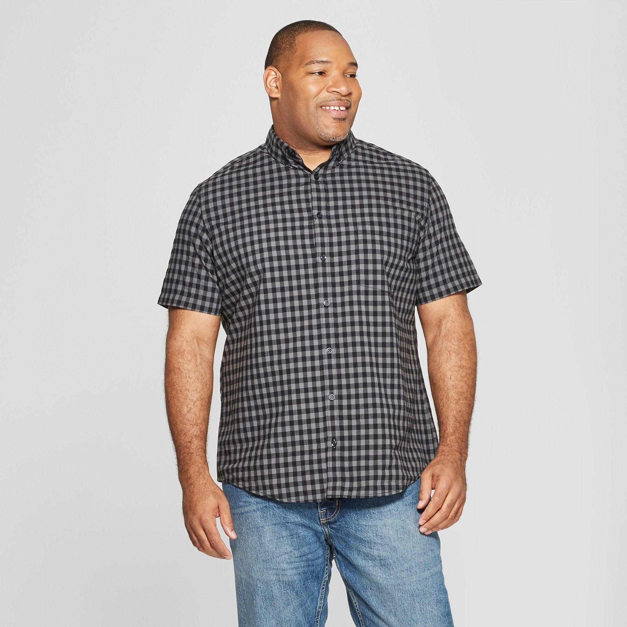 0fb1728e Men's Tall Plaid Standard Fit Short Sleeve Poplin Button-Down Shirt -  Goodfellow & Co Charcoal MT, Gray