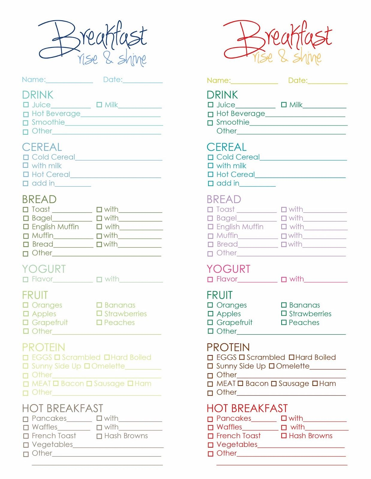 What's for Breakfast? A free printable menu that gives