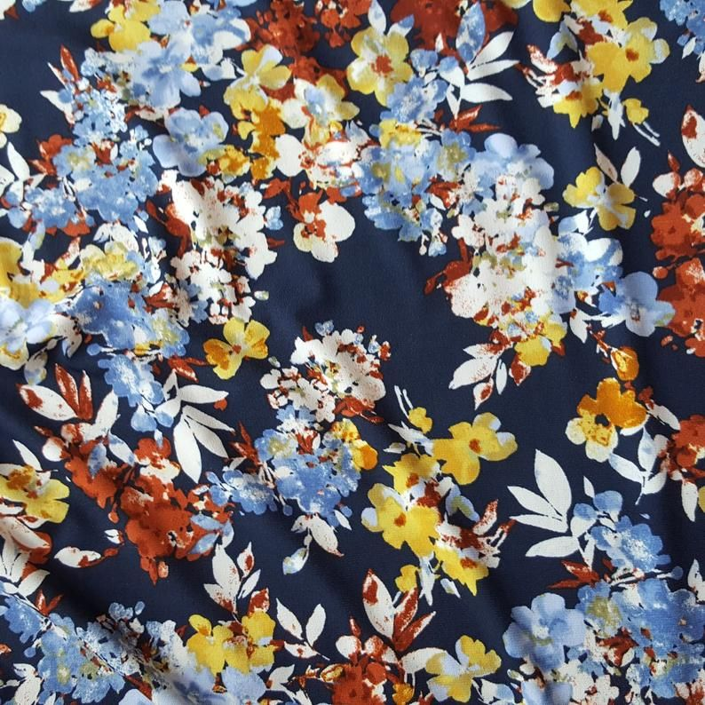 2 yards stretch spandex lycra ITY fabric leaf print
