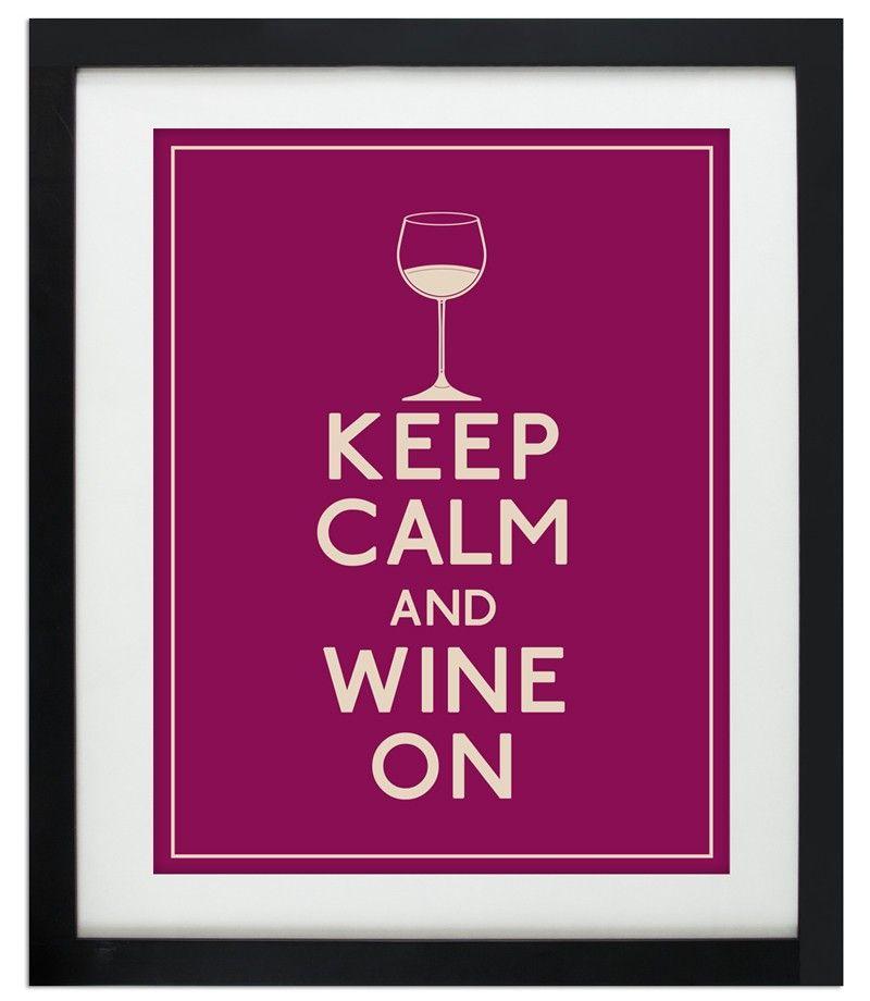 Keep Calm and Wine On (Wine Glass)