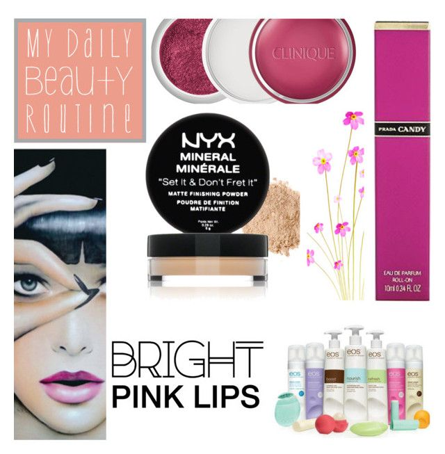 """Bright Pink Lipstick: 10/03/16"" by pinky-chocolatte ❤ liked on Polyvore featuring beauty, NYX, Clinique, Anja and Eos"