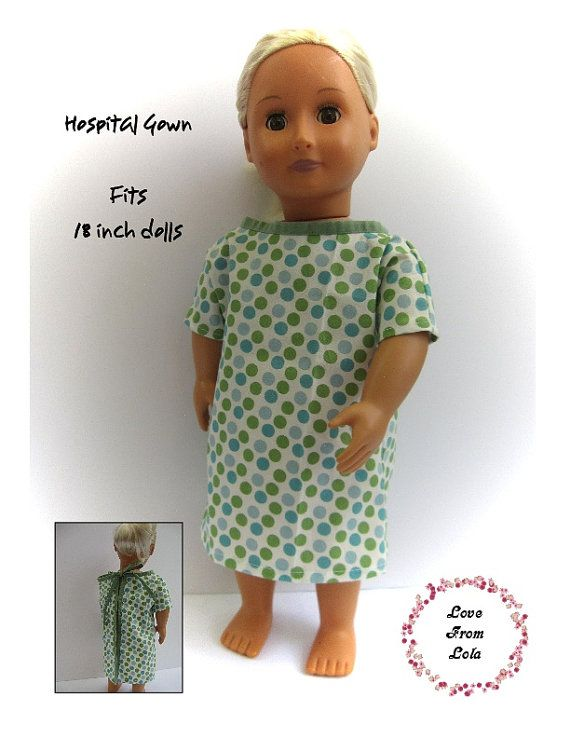 Hospital gown for 18 inch dolls, PDF pattern, pretend play, doll ...