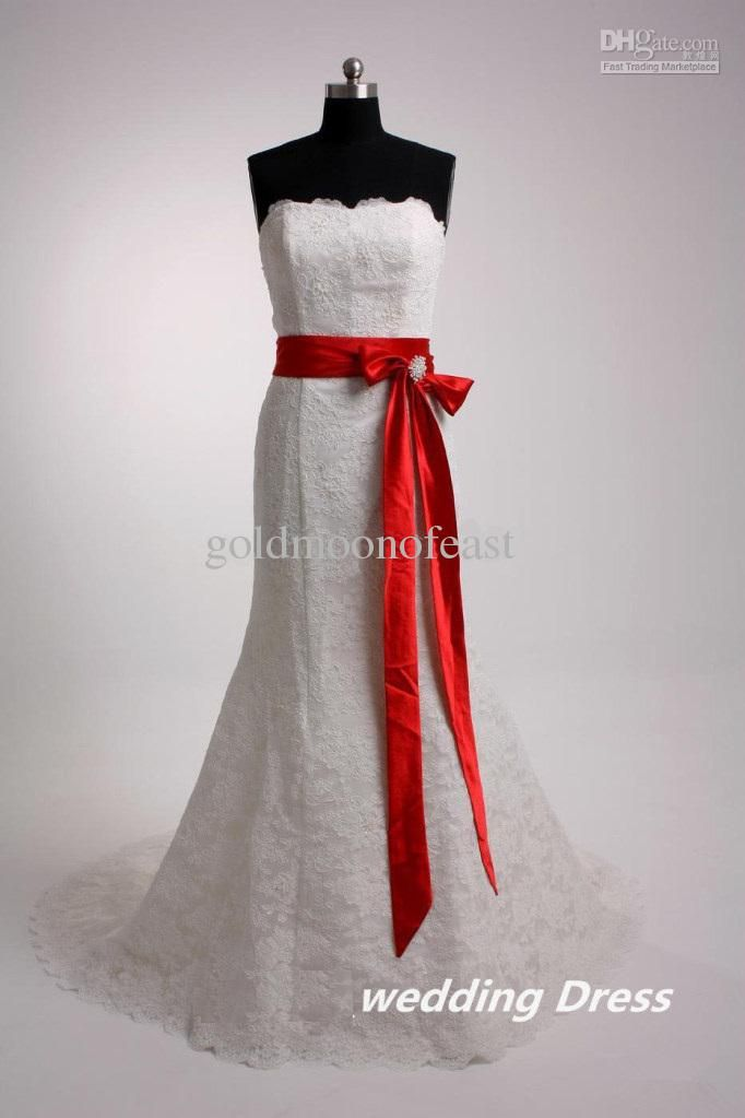 White strapless lace wedding dresses with red/champagne ribbon and ...
