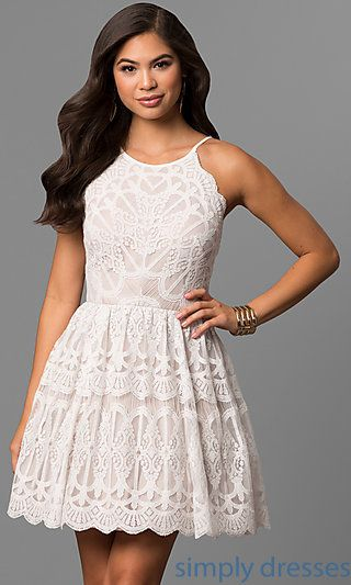 Shop ivory short graduation dresses at Simply Dresses. Cheap white lace  a-line party dresses under  100 with nude linings and scalloped hemlines. 5beb50e34