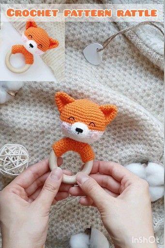 Crochet pattern baby rattle fox