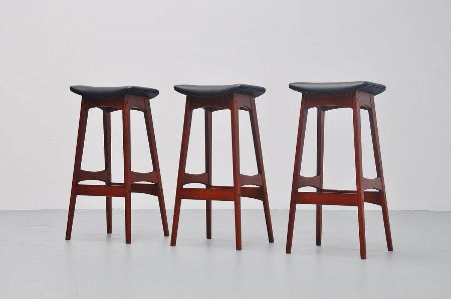 Johannes Andersen Teak Bar Stools Black Leather Denmark 1961 | Mass Modern Design