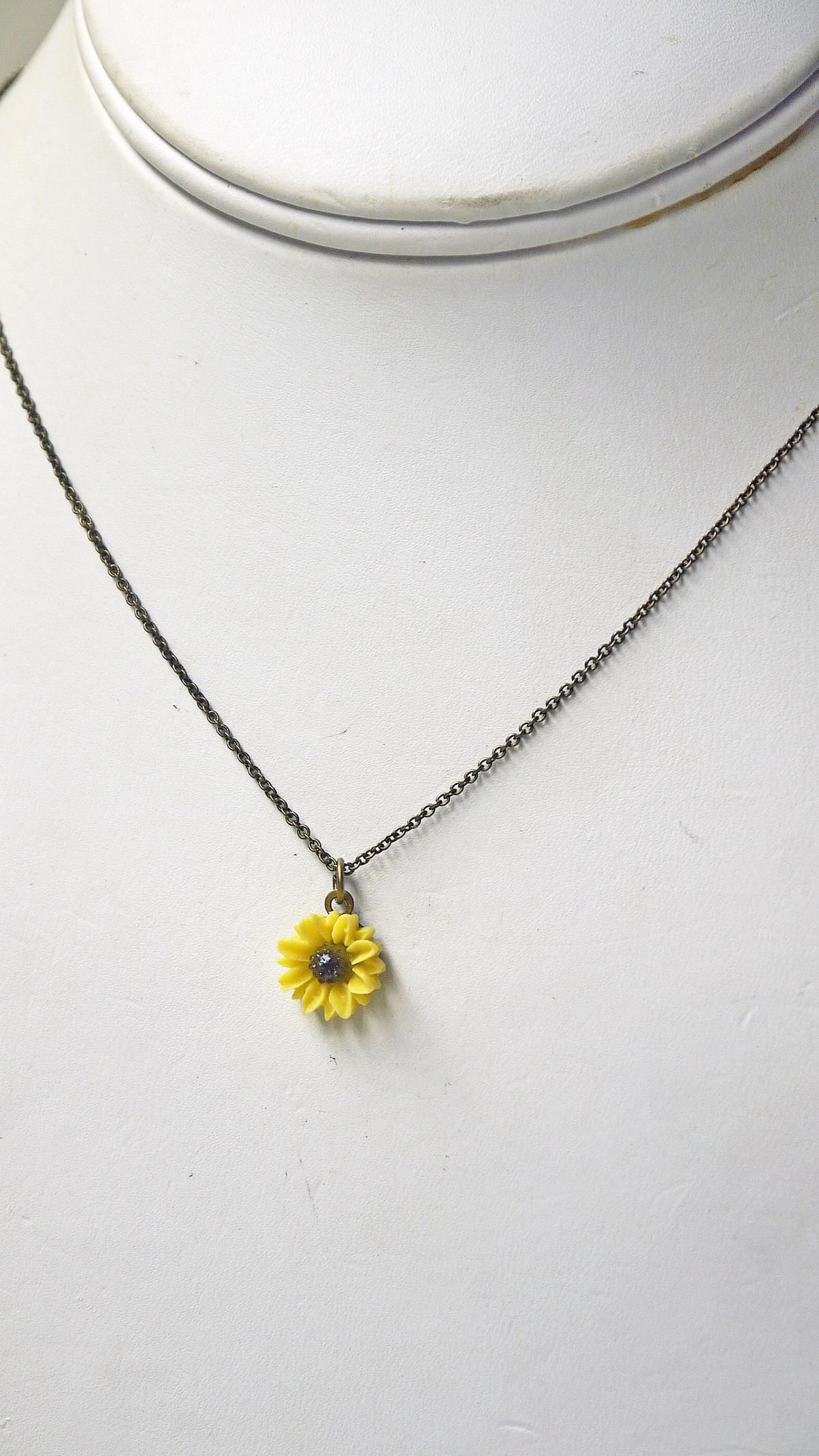 f843a864688 Sunflower Necklace. Antique Brass Yellow Sunflower Necklace. Dainty ...