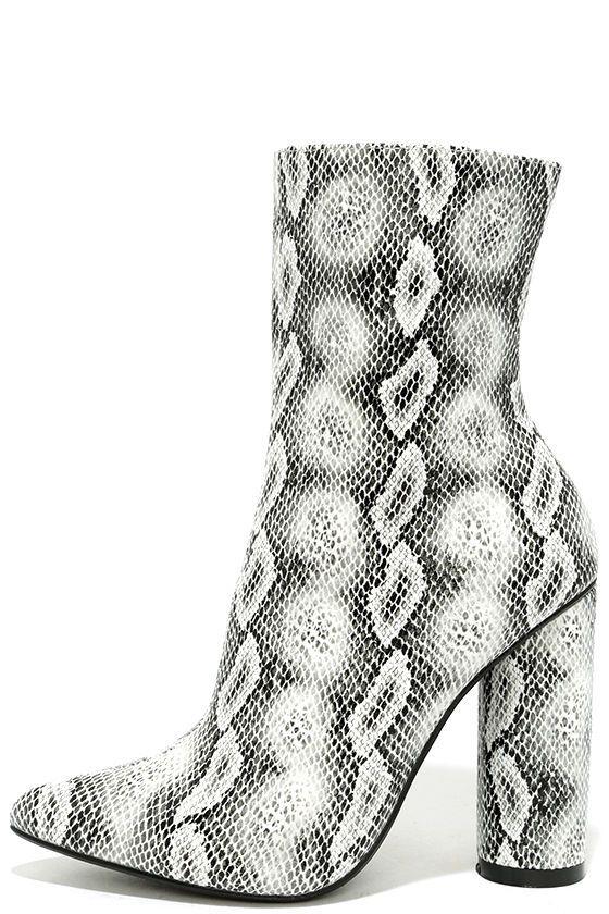 Mamba Grey Snake Print Mid-Calf Boots