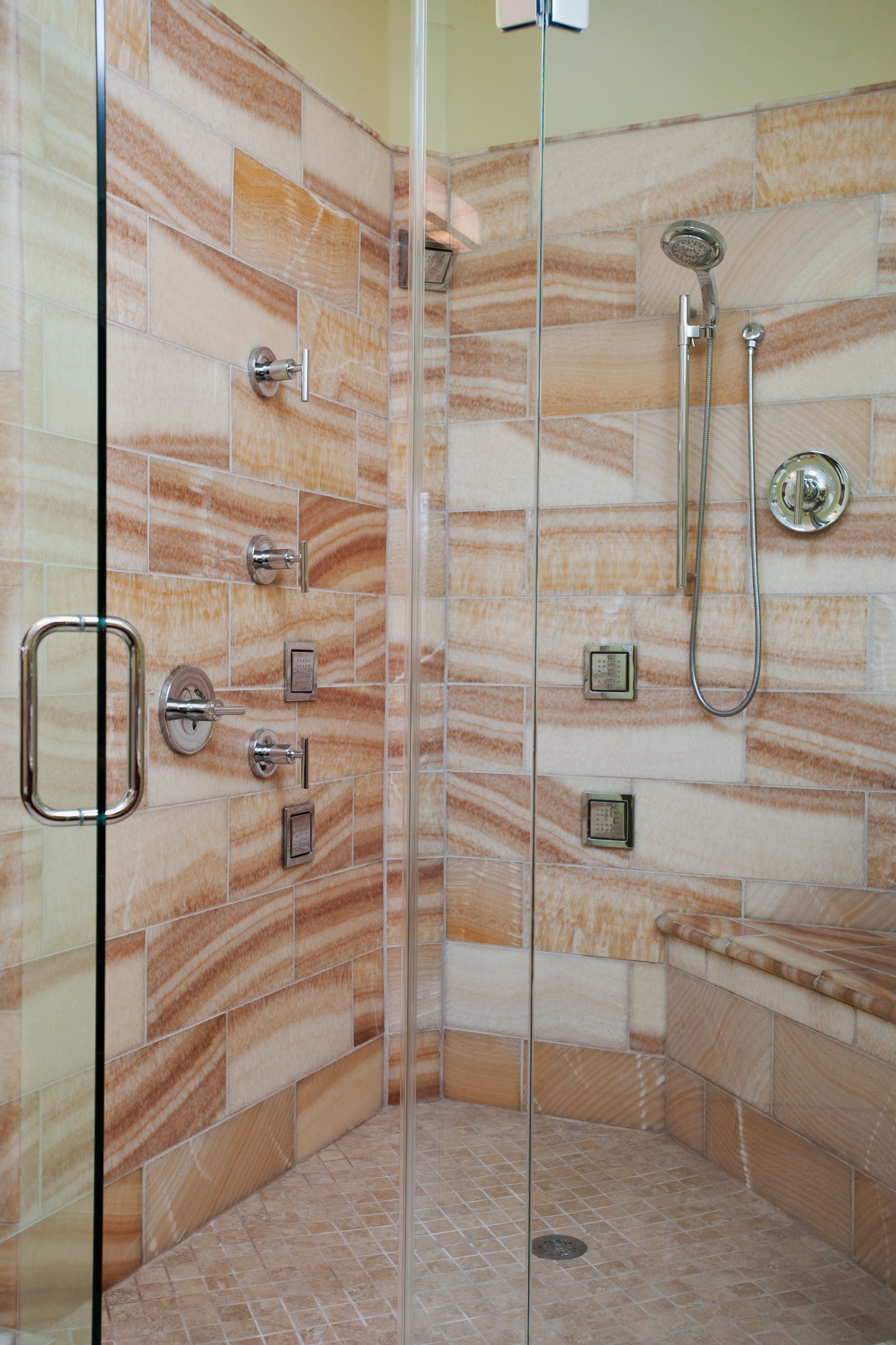Large walk in shower with glass surround. All the whistle and bells ...
