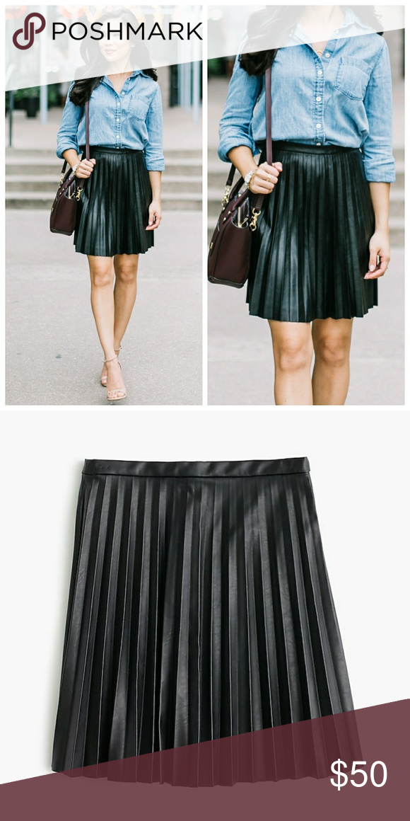 b090054f62 J. Crew Faux-leather pleated mini skirt Worn gently & in great condition