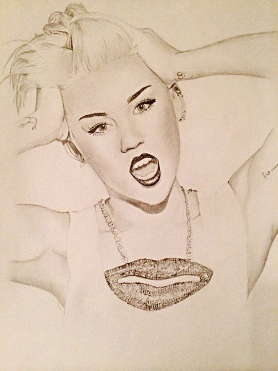 Print of pencil drawing miley cyrus by thepencilproject on etsy mileycyrus drawing etsy com shop thepencilproject