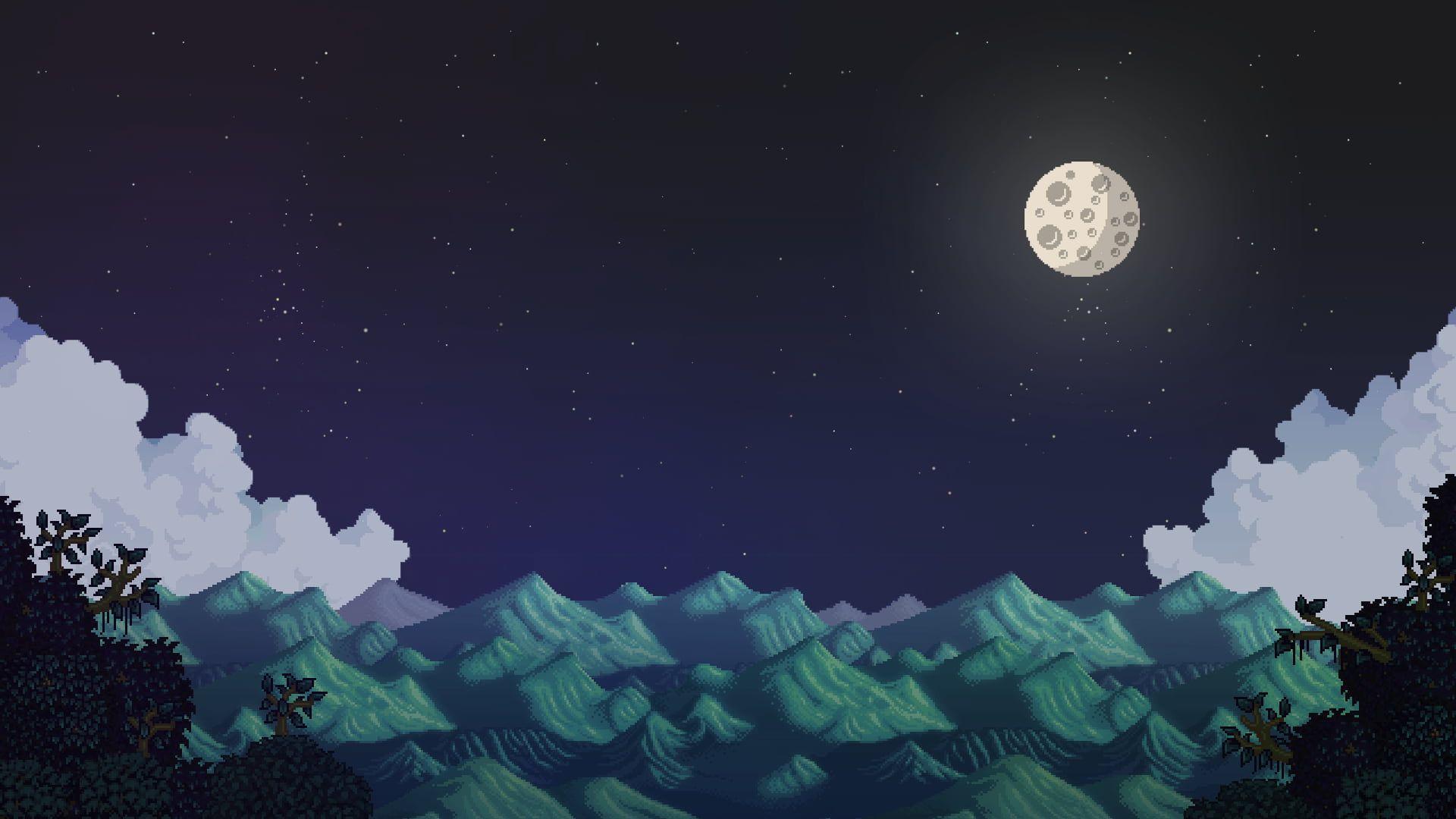 Stardew Valley Moon Landscape Pixel Art 1080p Wallpaper Hdwallpaper Desktop Desktop Wallpaper Art Stardew Valley Wallpaper