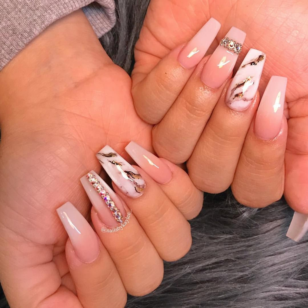 Marble glitter and French fade with some Swarovski Crystals on ...